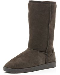 River Island Dark Brown Faux Fur Lined Suede Boots - Lyst