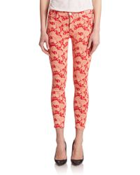 Hudson Nico Mid-Rise Floral-Print Ankle Skinny Jeans red - Lyst