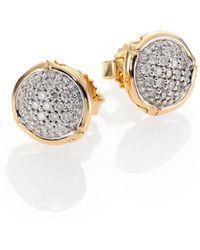 John Hardy Bamboo Diamond & 18K Yellow Gold Stud Earrings - Lyst