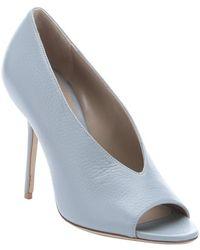 Burberry | Pale Slate Blue Leather 'haydon' Peep Toe Pumps | Lyst