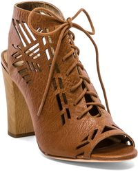 Twelfth Street by Cynthia Vincent Sivan Laser Cut Lace Up Suede Sandal - Lyst