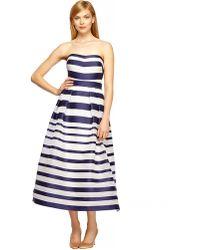 Kay Unger Silk-Blend Striped Ball Gown - Lyst