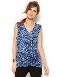 Vince Camuto Sleeveless Animal Print Ruffle Top - Lyst