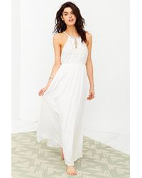 Kimchi Blue Embroidered Bodice Halter Maxi Dress - Lyst