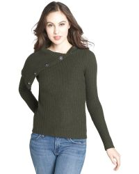 Autumn Cashmere Jungle Green Ribbed Cashmere Blend Snap Cowl Neck Sweater - Lyst