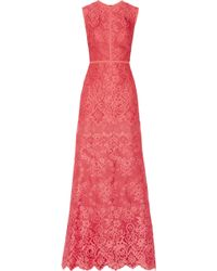 Elie Saab Orange Lace Gown - Lyst