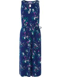 Oasis Iris Print Notch Midi Dress blue - Lyst