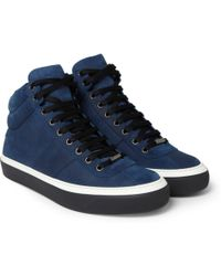 Jimmy Choo Belgravia Waxed-suede High Top Sneakers - Lyst
