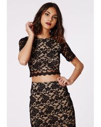 Missguided Harissa Lace Crop Top Black - Lyst