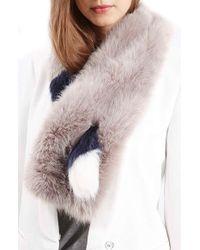 TOPSHOP - Stripe Faux Fur Stole - Lyst