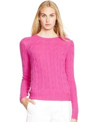 Ralph Lauren Black Label Cabled Cashmere Crewneck - Lyst