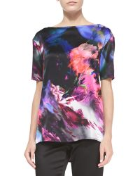 St. John Floralscape Print Stretch Silk Blouse - Lyst