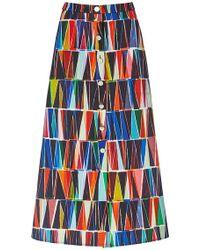 Saloni Leah Geometric Button Front Skirt multicolor - Lyst