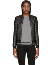 Mackage Black Leather Quilted Rosa Bomber Jacket - Lyst
