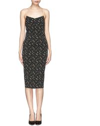 Victoria Beckham Leather Strap Floral Print Dress - Lyst