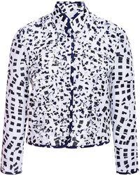 Oscar de la Renta Printed Ruffle-Detail Cloque Jacket - Lyst