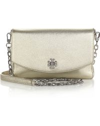Tory Burch Mercer Metallic Crossbody Bag gold - Lyst