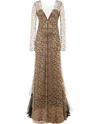 Alberta Ferretti Long Sleeve Lurex Lace Gown - Lyst
