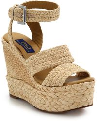 Polo Ralph Lauren - Ethel Raffia Wedge Sandals - Lyst