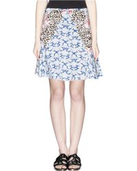 Stella McCartney Flower Appliqué Cloud Print Silk Crepe Skirt - Lyst