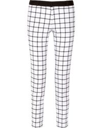 MICHAEL Michael Kors Miranda Checked Stretch-cotton Straight-leg Pants - Lyst