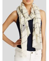 Tory Burch Embroidered Striped Scarf - Lyst
