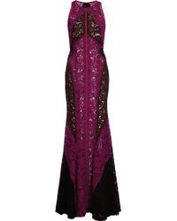 J. Mendel Floral Lace Tri-color Halter Gown - Lyst
