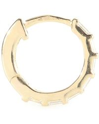 Stone - Mini Créole Baguette 18kt Yellow Gold Hoop Earring With White Diamonds - Lyst