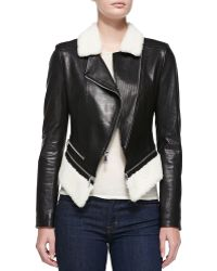 Dawn Levy Leather Jacket Wfaux-shearling - Lyst