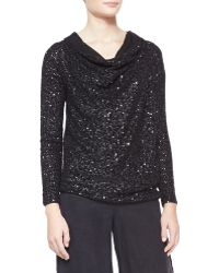 Donna Karan New York Asymmetric Sequined Cashmere Top - Lyst