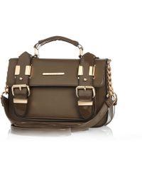River Island Khaki Patent Mini Satchel Bag - Lyst