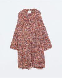 Zara Red Multicolored Coat - Lyst