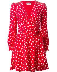 Saint Laurent Gathered Polka Dot Dress - Lyst