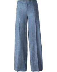 8pm - Wide Leg Stripe Jeans - Lyst