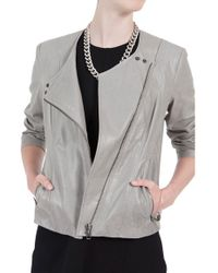 Helmut Lang Collarless Leather Jacket - Lyst