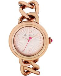 Betsey Johnson Ladies Rose Goldtone Link Bracelet Watch - Lyst