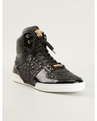 Versace Embossed Paisley Hi-Top Sneakers - Lyst