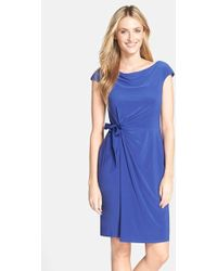 Adrianna Papell Jersey Faux Wrap Dress - Lyst