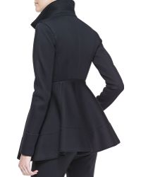 Donna Karan New York Peplum Zip Jacket With Leather Detail - Lyst