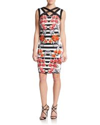 Jax Striped Floral-Print Sheath Dress - Lyst