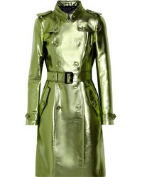 Burberry Prorsum Metallic Gabardine Trench Coat - Lyst