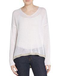 Eileen Fisher Open-stitch Linen Pullover - Lyst