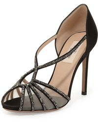 Valentino Crystal And Satin Evening Pump - Lyst