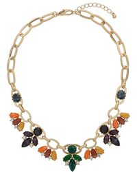 Topshop Navette Shape Stone Necklace Multi - Lyst