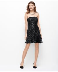 Ann Taylor Dot Jacquard Strapless Dress - Lyst