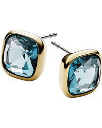 Michael Kors Gold-Tone And Blue Stone Stud Earrings - Lyst