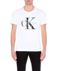 Calvin Klein Logo-Print Cotton T-Shirt - For Men white - Lyst