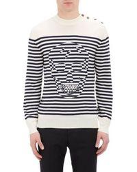 Alexander McQueen Optic Skull  Stripe Jacquard Sweater - Lyst