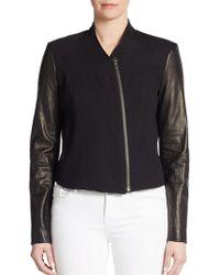 Helmut Lang Cropped Leather-paneled Jacket - Lyst