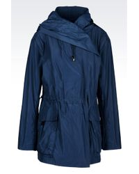 Armani Hooded Pea Coat In Technical Fabric - Lyst